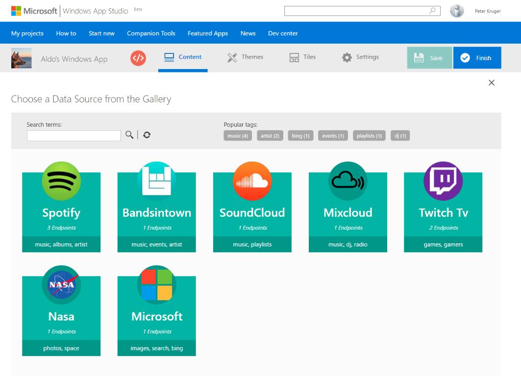 Microsoft updates Windows App Studio with an API gallery - SD Times