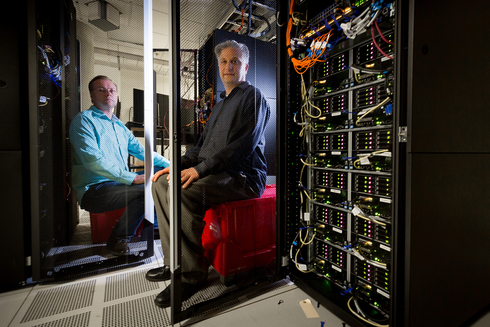 Frank Seide, left, and Chris Basoglu, right, have been key to building Microsoft Cognitive Toolkit. (Photo by Scott Eklund/Red Box Pictures)