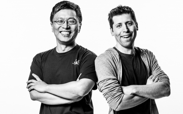 Harry Shum, Microsoft AI and Research Group executive vice president, and Sam Altman, co-chair of OpenAI.