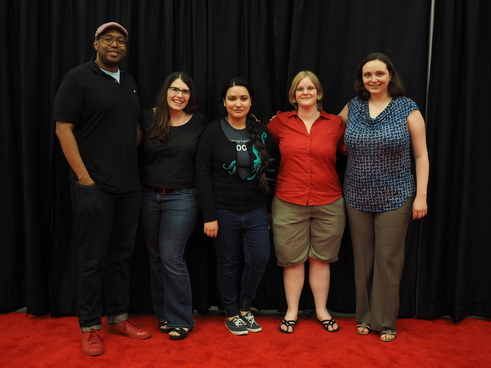 Outreach coordinators at OSCON in May 2016.