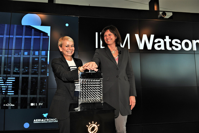 Harriet Green, Global Head of Watson IoT (left) and Ilse Aigner, Bavarian State Minister of Economic Affairs and Media, Energy and Technology. Photo by IBM.
