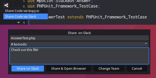 Komodo 10.2 Slack sharing