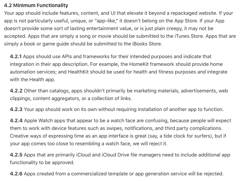 Apple Store guidelines for developers