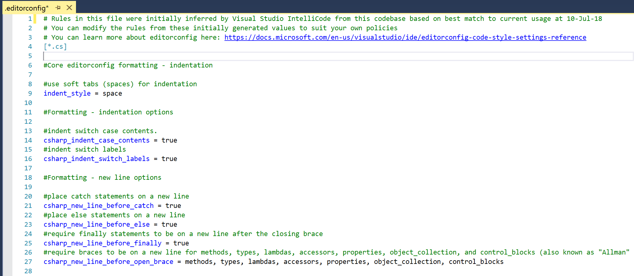 Visual Studio IntelliCode Extension now allows for coding convention inference in C#