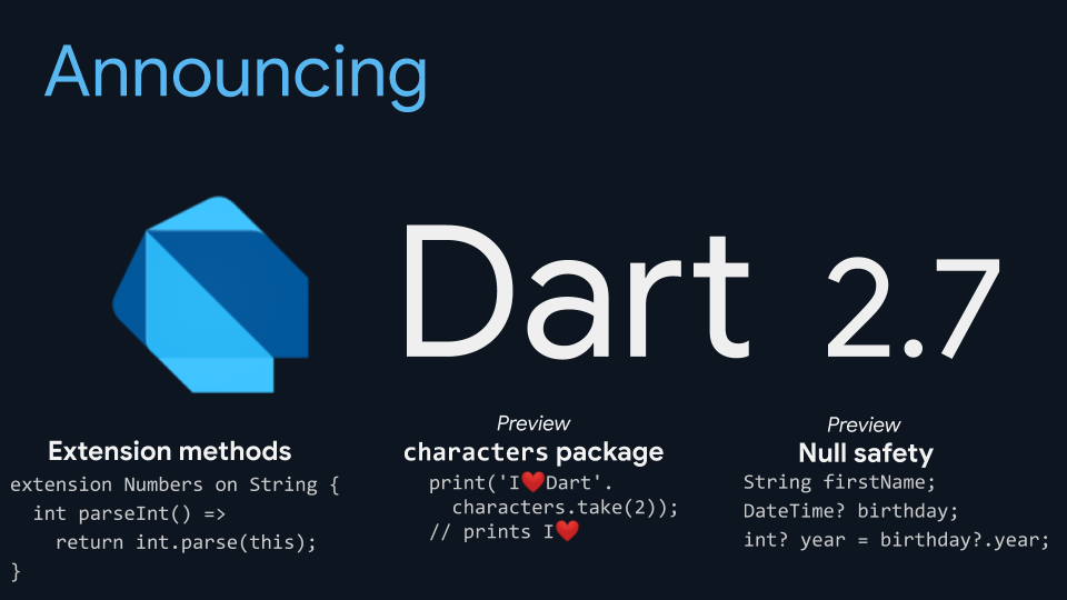 Dart 2.7 released to be safer and more expressive