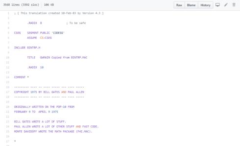 code source de GW-BASIC sur GitHub