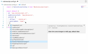 screenshot of nativescript.config.ts file in NativeScript 7.0