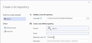 GitHub accounts in Visual Studio 2019
