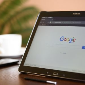 Web browser open on a tablet